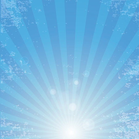 ray light: Vector shiny blue sky background with ray of light