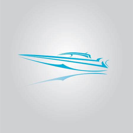 speed boat: icono yate vector. azul s�mbolo de la velocidad del barco. Vectores