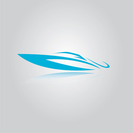vector yacht icon. blue speed boat symbol.