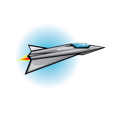 Flying jet fighter with missile. Vector