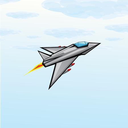 missile: Flying jet fighter with missile.