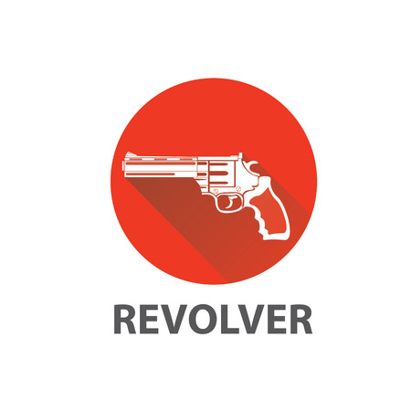 vintage riffle: vector vintage pistol gun icon on red