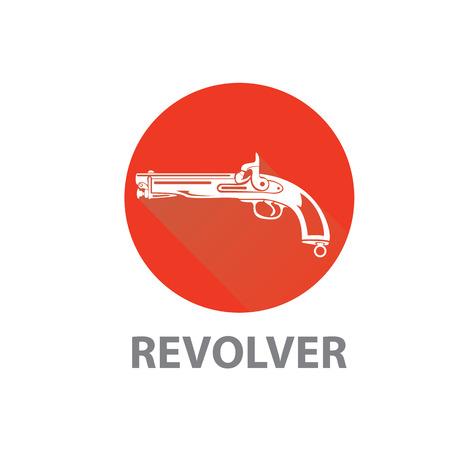 vintage riffle: vector vintage pistol gun icon on red