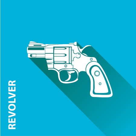 vintage riffle: vector vintage pistol gun icon on blue