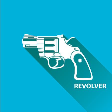 vintage riffle: vector vintage pistol gun icon on blue