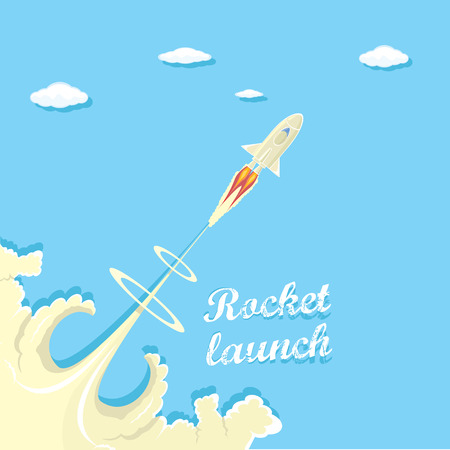 launcher: vintage style retro poster of Rocket launcher. Illustration