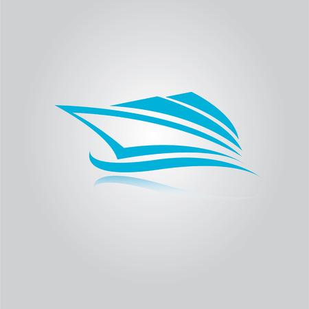 vector yacht icon. blue speed boat symbol. ship logo