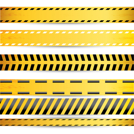 cordon: Yellow security warning tapes set Caution