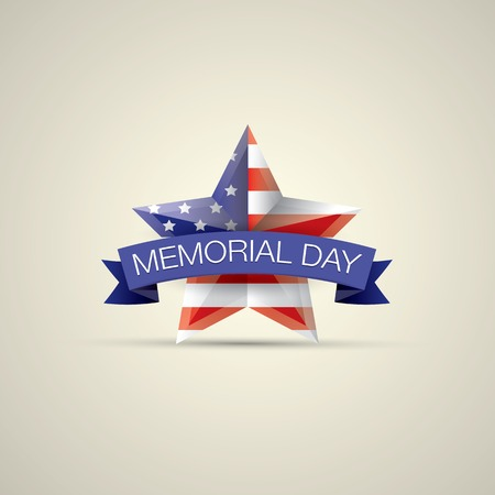 memorial day: Memorial Day with star in national flag colors
