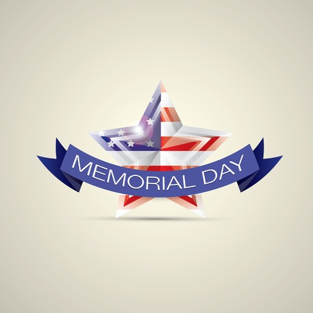 Memorial Day with star in national flag colors