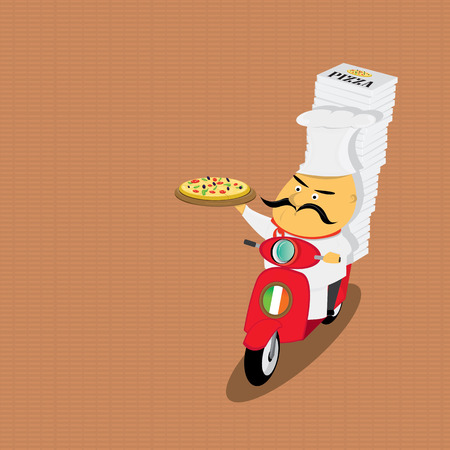 moped: Funny italian chef delivering pizza on moped Illustration