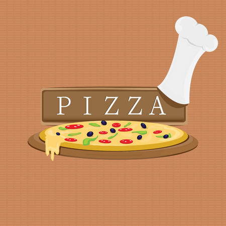Pizza Label or Poster - Design Template. Vector