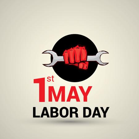 jornada de trabajo: Dise�o del cartel con el texto 01 de mayo D�a del Trabajo