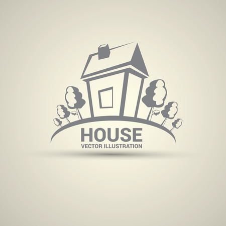 real residential: House abstract real estate logo design template. Illustration