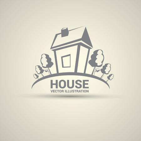 villa: House abstract real estate logo design template. Illustration