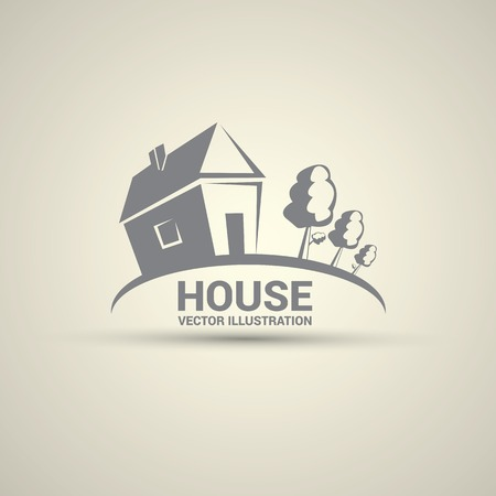 house logo: House abstract real estate logo design template. Illustration