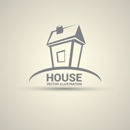 green construction: House abstract real estate logo design template. Illustration