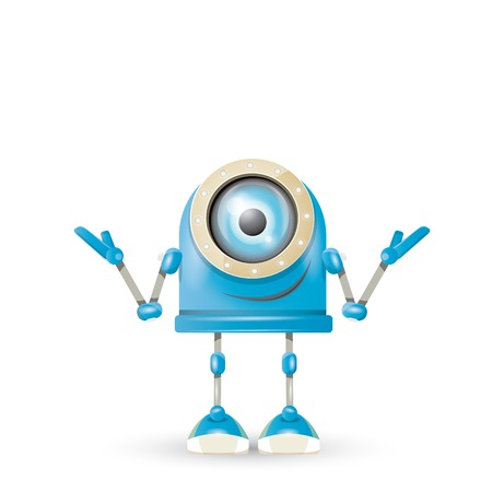 funny robot: vector blue cartoon robot isolated on white