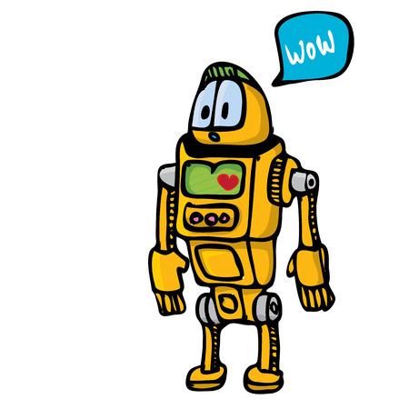 naranja caricatura: Robot de la historieta del doodle de naranja sobre fondo blanco