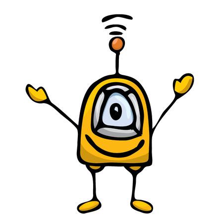 orange Cartoon doodle Robot on white Vector