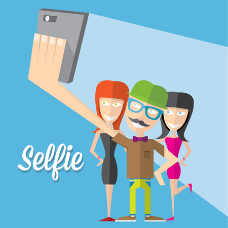 Young group of friends taking selfie photo together with mobile phone Ilustração