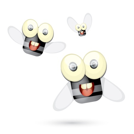cartoon cute bright fly insect with big googly eyes and a protruding proboscis. vector illustration.