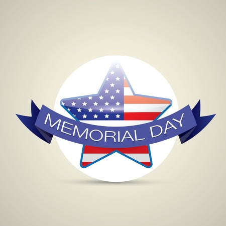 national freedom day: Memorial Day with star in national flag colors
