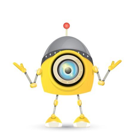 bot: vector orange cartoon friendly robot isolated on white Illustration