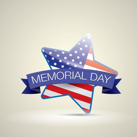 memorial day: Memorial Day with star in national flag colors. vector illustration