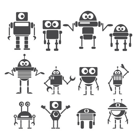 Flat design style robots and cyborgs. Vectores