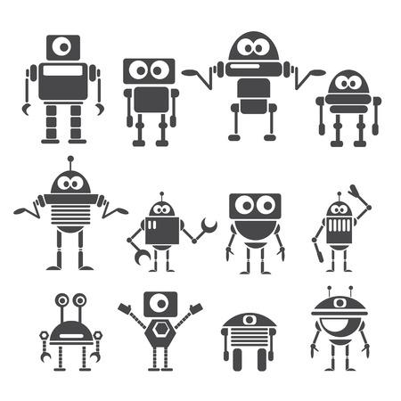 Flat design style robots and cyborgs. Stock Illustratie