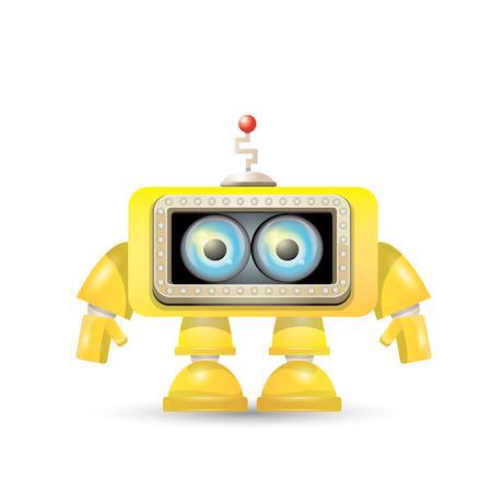 bot: vector orange cartoon robot isolated on white