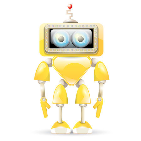 naranja caricatura: naranja vectores robot de dibujos animados aislado en blanco