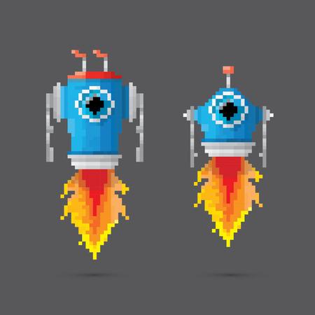 pixel style robot set Vector