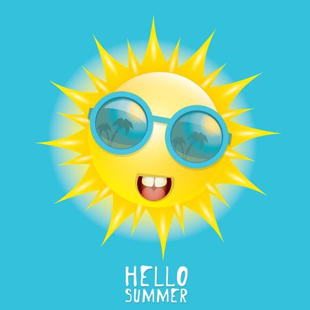 sol caricatura: Hola Verano. vector sonriente sol del verano