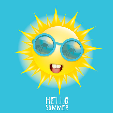 słońce: Witaj Lato. wektor lato, uśmiechnięte słońce