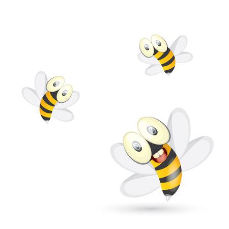 domesticated: cartoon cute bright baby bee. vector Illustration