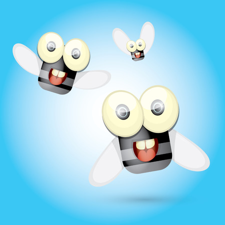 housefly: cartoon cute bright fly insect