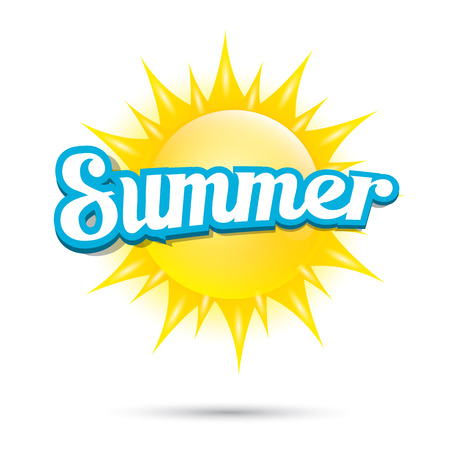 sun beach: vector summer label. summer icon with sun. Illustration