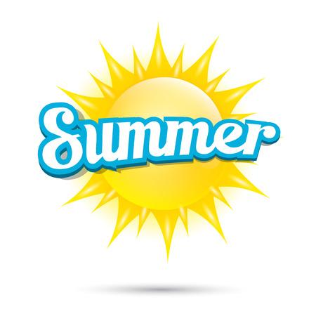 sonne: Vektor-Sommer-Label. Sommer-Symbol mit Sonne.