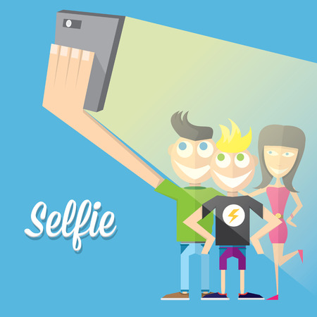 Taking Selfie Photo on Smart Phone concept Illustration