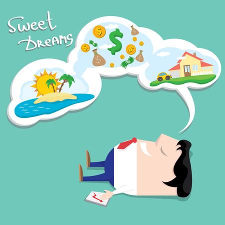 Business man dreaming.  cartoon illustration Stock Illustratie