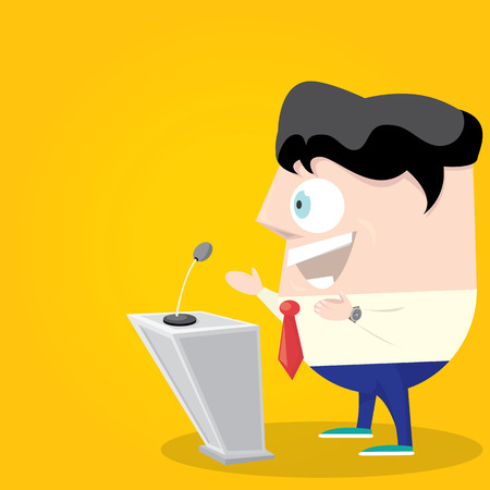 Speaker icon. Orator speaking from tribune illustration. Cartoon style design - vector.