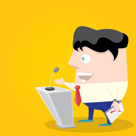 orator: Speaker icon. Orator speaking from tribune illustration. Cartoon style design - vector.