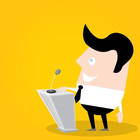 tribune: Speaker icon. Orator speaking from tribune illustration. Cartoon style design - vector.