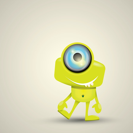 Green Cartoon cute monster. vector friendly alien 矢量图像