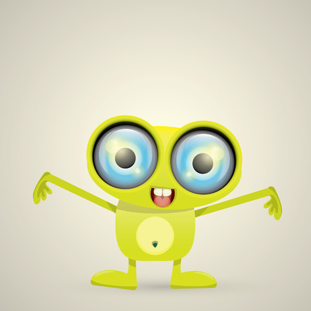 Green Cartoon cute monster. vector friendly alien Illustration