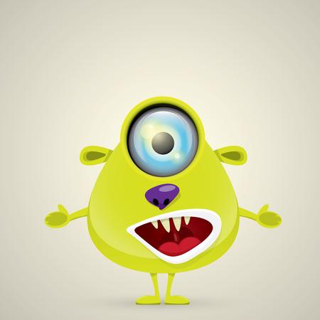 eccentric: Green Cartoon cute monster. vector friendly alien Illustration