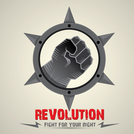 martial law: clenched fist. vector fist icon. revolution fist. freedom concept. collar with spikes