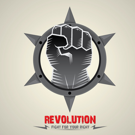 clenched fist. vector fist icon. revolution fist. freedom concept. collar with spikes